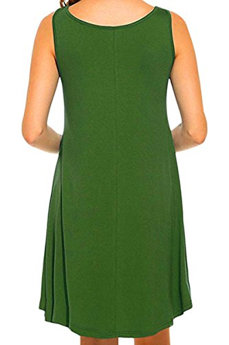 YMING Damen Casual Langes Shirt Lose Tunika Kurzarm T-Shirt Kleid 24 Farbe,XS-XXXXL(32-50) Ärmellos-Grün