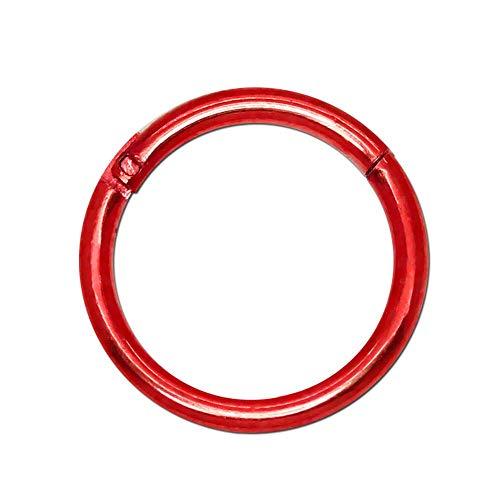 tumundo Piercing Ring Edelstahl Segment Septum Lippen Ohr Brust Nasen Augenbrauen Universal Clicker 11 mm Piercing-Schmuck, Farbe:rot