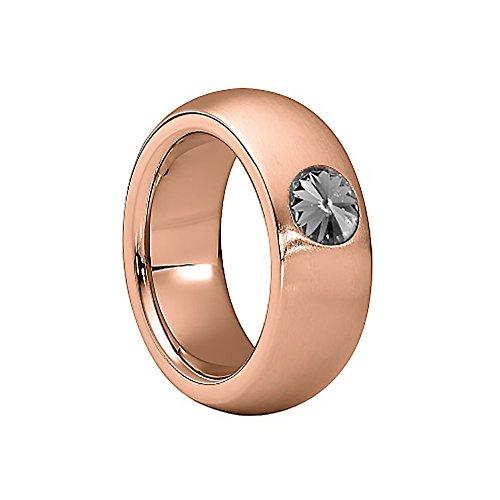 Heideman Damen Ring coma Schmuckring Fashionring rosegold vergoldet aus Edelstahl mit Stein black diamond grau von Swarovski | Ringgröße: - Diamond Black Ringe