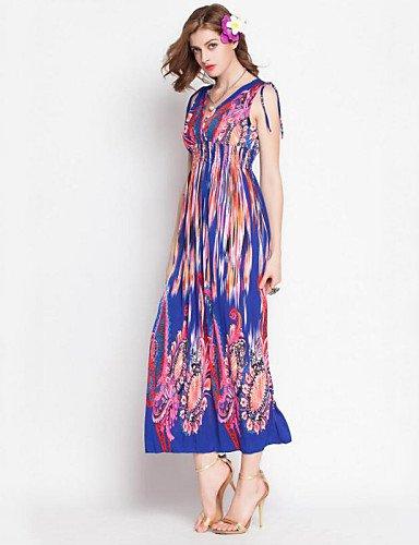 PU&PU Robe Aux femmes Mousseline de Soie / Swing Bohème,Imprimé Col en V Maxi Rayonne BLUE-L