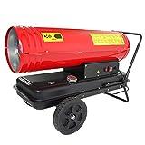HELO Standard Diesel Heizkanone 30 kW (rot) mit Fahrgestell auf Rädern, 560 m³/h Luftdurchsatz, elektronische Zündung, 24 l Tank (inkl. Tankanzeige)