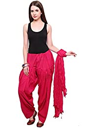 Fashion Store Cotton Plain Patiala With Dupatta ( Free Size, With Side Pocket And Interlock, Pink Colour)