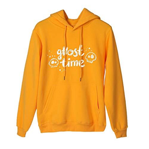 GOKOMO Halloween Frauen Damen Langarm T-Shirt Bluse Tops Kapuze Sweatshirt Hoodie Sweatshirt Jacken Damen Schwarz Halloween-Ghost Printed mit Kapuze(Gelb-c,X-Small) -