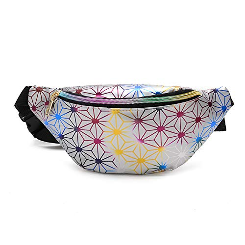 YUOCEAN Shiny Neon Fanny Pack für Frauen Rave Festival Hologramm Bum Travel Taille Pack,Silver (Fanny Pack Rosa Neon)