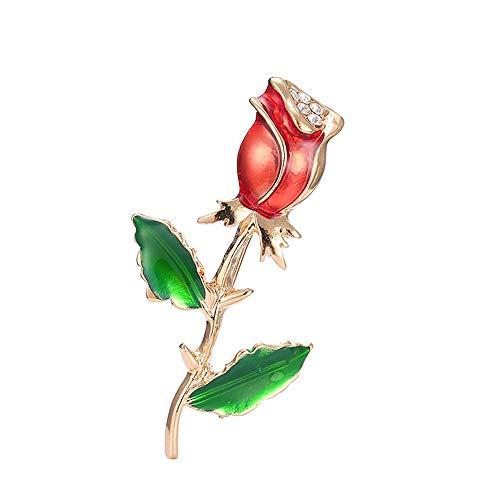 Ningz0l Brosche Öl Tropfen Legierung Diamant High-end Liebhaber Rose Brosche Wilde Retro Pullover Kleine Schmuck Weibliche 6 cm * 3,5 cm