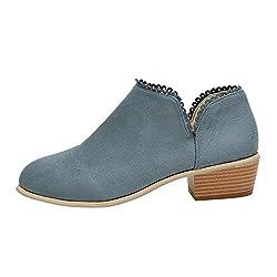 Stiefel Damen, LANSKIRT Stiefeletten Frauen Klassische Stiefel mit Blockabsatz Ankle Boots Mode Frauen Stiefel Round Toe Stiefel Klassische Freizeitschuhe