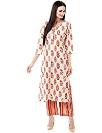 Gulmohar Jaipur Women's Cotton Printed Kurta Pant Set (Pink)