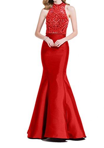 Charmant Damen Traube Steine Meerjungfrau Abendkleider Abiballkleider Promkleider Abschlussballkleider Rot