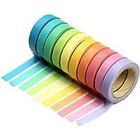 Aikesi 10 Unids Cinta Decorativa Washi Rollos Adhesivo Adhesivo Rainbow Color Del Caramelo Cinta De Papel Etiqueta DIY para Regalo de Papelería Escolar