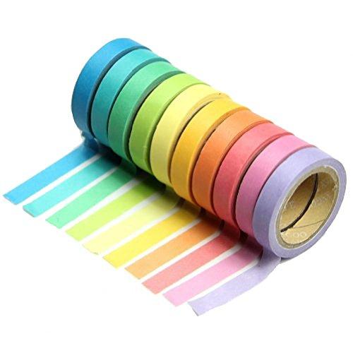 wdoit 10pcsrolls Dekorative Rainbow Sticky Papier Masker Klebeband Journaling, DIY Handwerk, Scrapbooking 5cm x 0,7cm (10Farben)