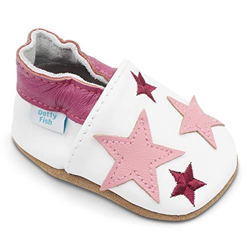 Dotty Fish weiche Leder Babyschuhe. Rutschfesten Wildledersohlen. 2-3 Jahre (25 EU). Weiß mit rosa Sternen. -