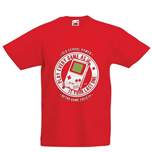 lepni.me Kinder Jungen/Mädchen T-Shirt Videogamer der Alten Schule, Retro- Spielegesellschaft, Spielefan (7-8 Years Rot Mehrfarben)