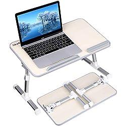 Gladle Bureau de Lit, Portable Réglable Table de Lit PC Portable, Plateau de Petit-déjeuner, Support de Lecture pour Lit, Canapé, Cuisine, Plancher