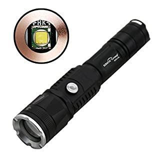 Sidiou Group 2nd Generation Rechargeable Flashlight 10W CREE XM-L T6 1200Lm Zoomable Adjustable Focus Torch USB Charger Power Bank Flashlight With 2x18650 Rechargeable Battery+USB Cable+Bicycle Bracket