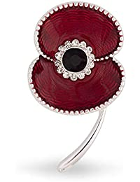 The Royal British Legion Amazon Exclusive Beaded Edge Enamel Silver Tone Poppy Brooch