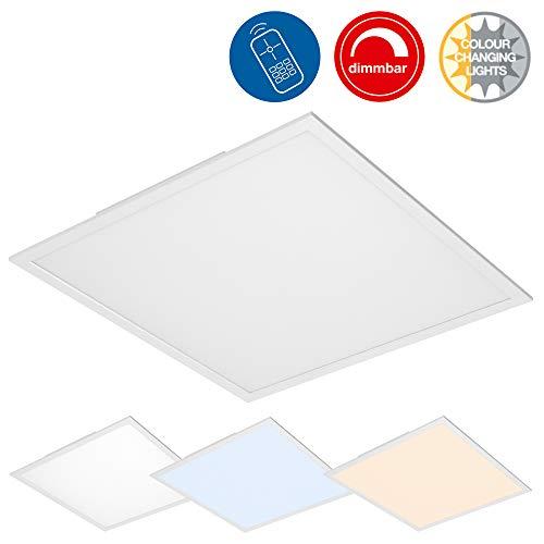Briloner Leuchten- LED Deckenleuchte-Panel, Dimmbar, Farbtemperatursteuerung, Fernbedienung, 36W, 3800 lm, LED-Lampe, Wohnzimmerlampe, Deckenlampe, Weiß, 59.5 cm