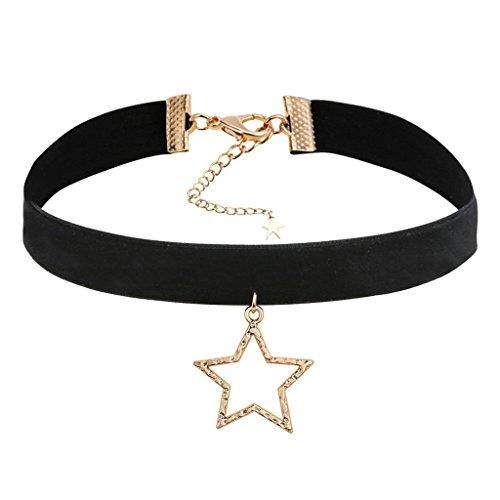Bishilin Choker Halskette Damen Cloth Velvet Hohl Sterne Schwarz Collier Choker Velvet Halskette für Mädchen (Und Mutter Kostüme Fee Tochter)