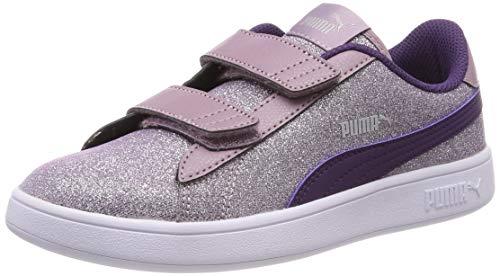 Puma Mädchen Smash V2 Glitz Glam V Ps Sneaker Blau (Fair Aqua-Pale Pink Silver White), 35 EU
