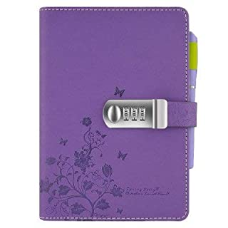 Lvcky A5 Flower Butterfly Leather Locking Journals Note Books Secret Diary Notebook with Lock Password Coded Hardback Gift Travel Lavender