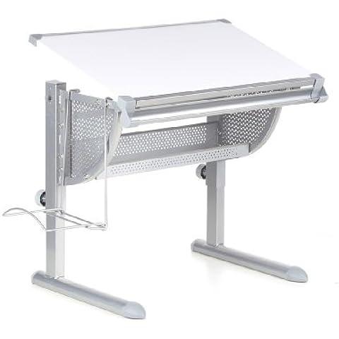 hjh OFFICE 705100 BELIA Escritorio para niños  ajustable de altura + inclinación blanco / plateado