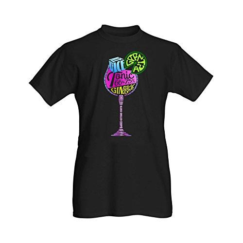 Ginsanity Damen Sommer T-Shirt Kurzarm Bluse Rundhals Oberteile Beiläufig Bluse Gin Schwarz Novelty T-Shirts (Gin 25% / Tonic 75%) - Small