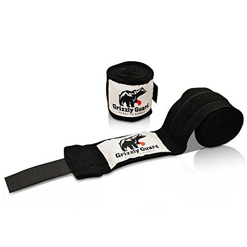 GRIZZLY GUARD Boxbandagen mit Daumenschlaufe (3,5m) - Halb-Elastische Boxbandagen für Boxen, Kickboxen und MMA - Box Bandagen für optimalen Schutz beim Training! (Box Band)