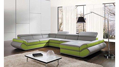 JUSTyou Genesis XL-FP Comfort Wohnlandschaft Couchgarnitur Polsterecke Kunstleder (BxLxH): 287x374x72/91 cm Grau Grün Ottomane Rechts
