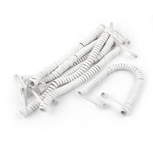 8 PC 1.5M RJ9 4P4C plug Coiled Handset Kabel Stretch White White Coiled Handset
