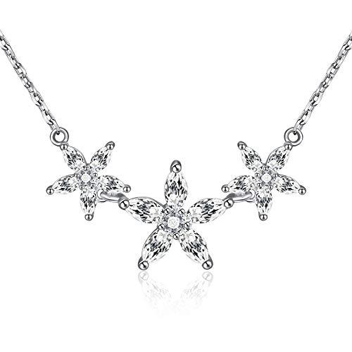 Thwjsh collana in argento sterling 925 collana in argento con zirconi ciondolo a forma di zirconi