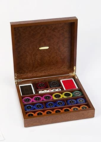 Opera Game Casino Set w Pearlized Chips & Gold-Plated Accent Case by Cambor Games