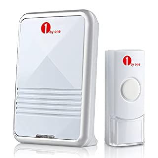 1byone Easy Chime Wireless Doorbell Door Chime Kit with CD Quality Sound and LED Flash 36 Melodies to Choose, White