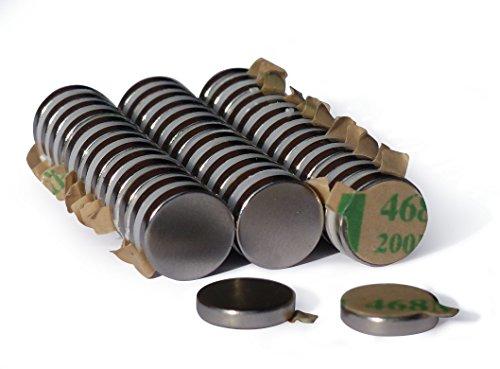 NeoMagNova   40 Neodym-Magnete selbstklebend 10x2 mm N42   paarweise magnetisiert   Klebemagnete klein, rund & extrem stark