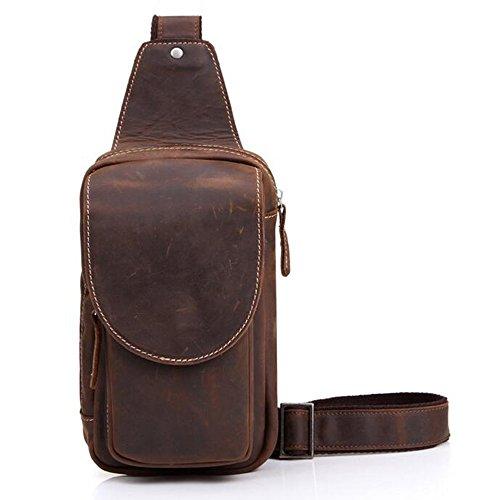 19ff7c32be En cuir de vache véritable Pour Homme Bandoulière poitrine sac à dos sac à bandoulière  sac