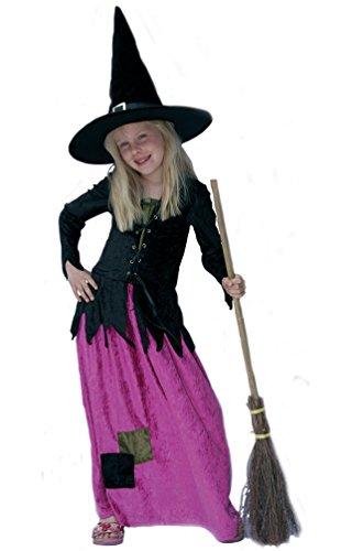 (Karneval-Klamotten Hexen-kostüm Kinder Hexe für Mädchen Hexenkostüm Aschenhexe Halloween Hexenkleid 152)