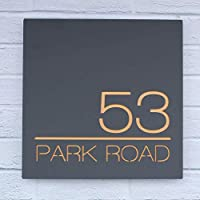 Contemporary Acrylic Floating Square House Sign - Modern Door Number Plaque