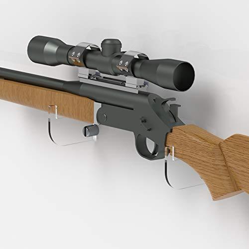 Plexico acrilico trasparente rifle holder/musket staffe/fucile wall mount display, clear