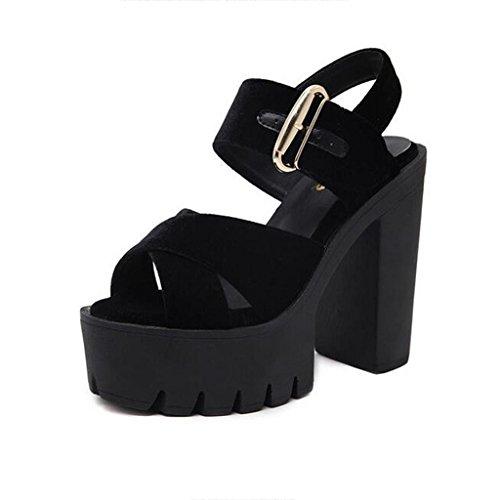 W&LM Signorina Tacchi alti sandali Ruvido Piattaforma impermeabile Ultra Tacchi alti Velluto d'oro Fibbia della cintura sandali Black
