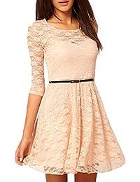 Lannister Fashion Donna Vestiti in Pizzo Manica 3 4 Rotondo Collo Estivi  Eleganti Corto Retro Linea Ad A Abito da Sera… b7f81ee277d0
