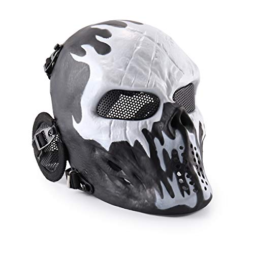 Wwman - Máscara táctica de cara completa para airsoft, paintball y juegos de guerra, diseño de calavera, equipo de protección, Wildfire