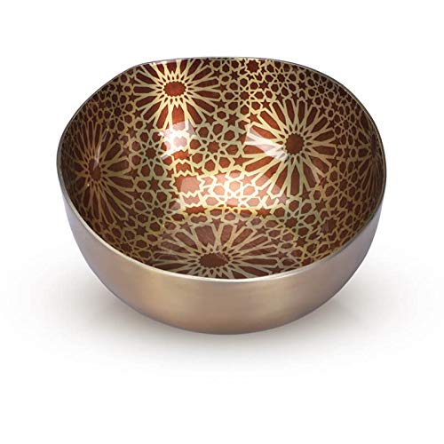 Jasper - Designer Multipurpose Bowl with Geometric Pattern for Keeping Nuts, Candy, Dry Fruits, Snacks, Cookies etc. and Also, for Home Decoration (Champagne-7.5 inch)