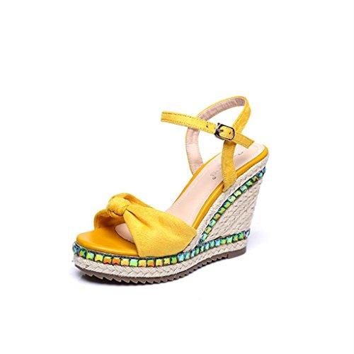 BaiLing Sandales d'été pour femme / talon compensé en paille tricoté à la main imperméable à l'eau / Bowknot à fond épais / chaussures de petite taille Yellow