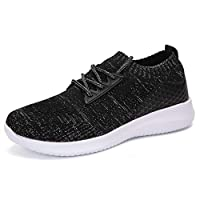 Minbei Womens Sneakers Lightweight Lady Trainers Breathable Woman Running Shoes Daily Walking Outdoor Fitness Athletic Lace Up Flat Fitness Air Sports Shoes Size 4 UK Black