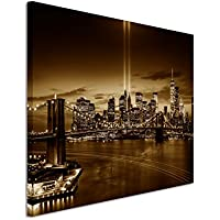 120x 80cm–quadro da parete su tela fotografica in Sepia New York Brooklyn Bridge Manhattan River Hudson Boot