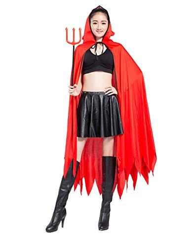 Zhhlaixing Halloween Teufel Kapuzenumhang mit Kunststoff Heugabel - Schön Rot Kap Maskerade Party Kostüm für Erwachsene Jugendliche