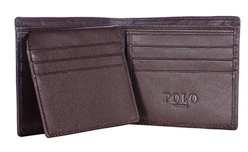 VIDENG POLO RFID Blocking Leder Geldbörsen für Männer - Ausgezeichnete Kreditkarte Schutz - Stop Electronic Pickpocketing (Brown-W1)