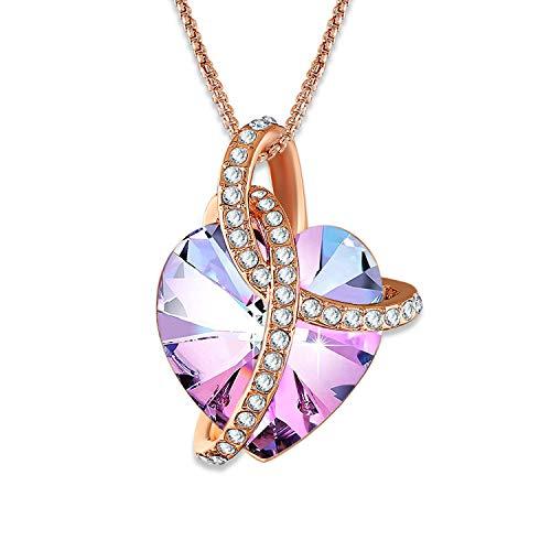 Angelady Halsketten für Frauen Damen Kette Herz Anhänger Kristallen von Swarovski Silber Swarovski Schmuck Valentinstag Muttertag Geburtstag Geschenk fürMutter Freundin (Pink-5)