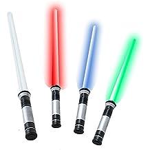 tevenger 67 cm Laserschwert Lichtschwert starr Sound 4-Fach frei wechselbare Lichteffekte blau rot grün Dauerlicht