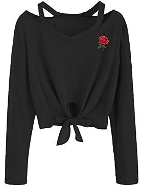 OverDose camisetas blusas manga larga para mujer subió las tapas de la camiseta del bordado S-XXL