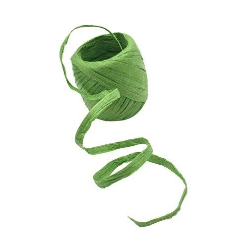 F Fityle 20 Meter Papierschnur Naturbast Raffiabast Bast Bindebast Papierkordel Deko-Bast Band Schnur Geschenkband Dekoabnd Bastelband - Grün