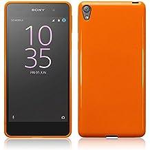 Sony Xperia E5 Funda Protectiva de Silicona Gel TPU estrecha - Naranja sólido